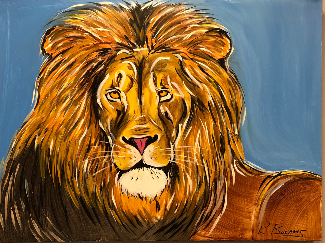 Relaxed Lion Original Painting