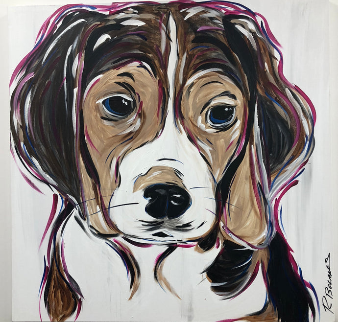 Beagle puppy Original acrylic painting