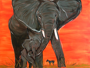 Mother and baby elephant Original Painting