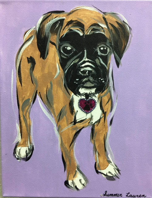 boxer puppy dog wall art painting