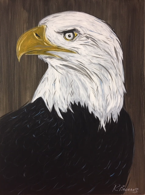 Eagle Eye, American Bald Eagle Original Painting