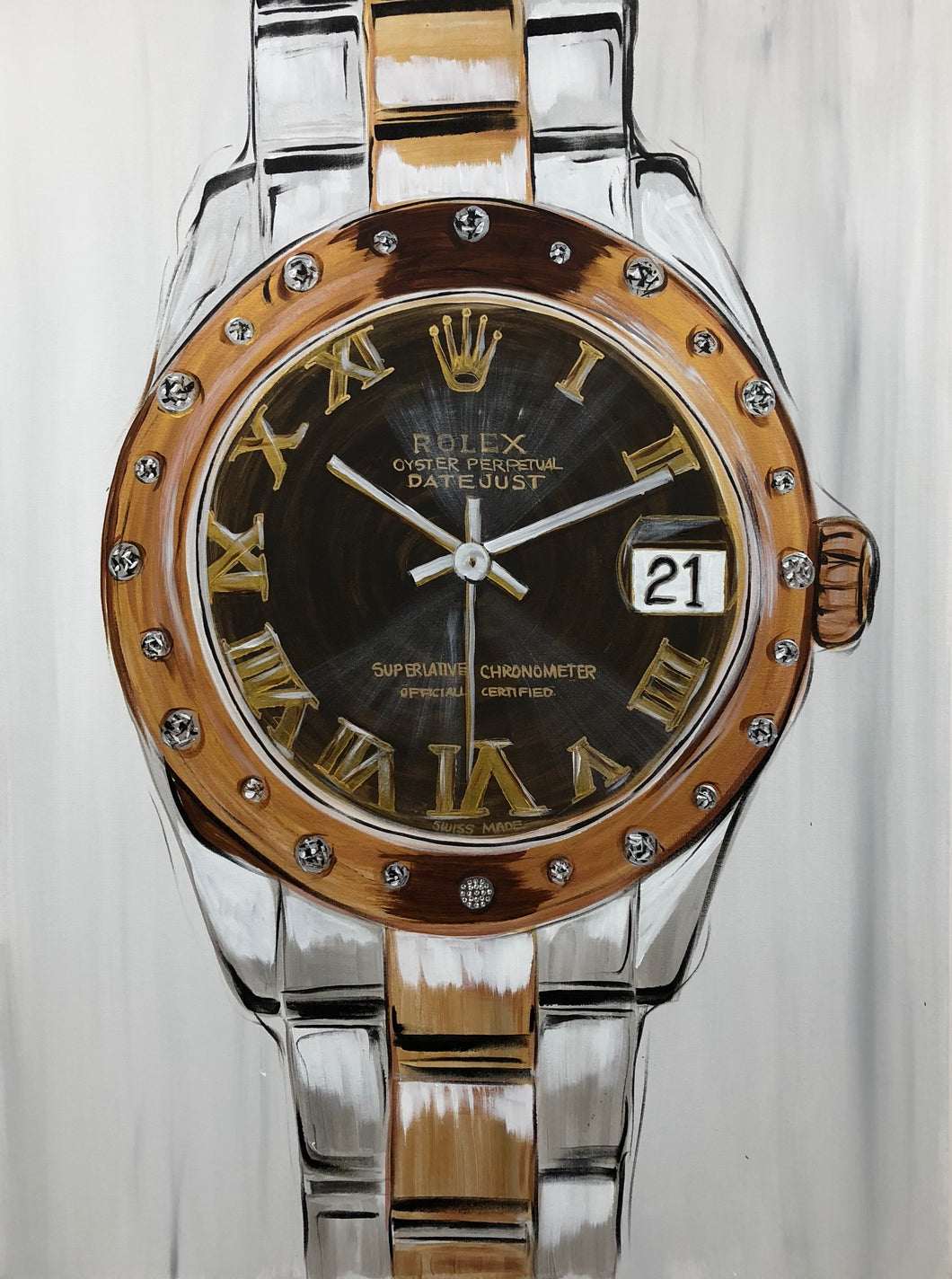 Rolex Rose Gold Original Painting