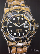 Load image into Gallery viewer, Rolex, Mens Watch, Gold Submariner Original Painting