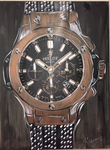 Hublot Mens Watch, Rose Gold Original Painting