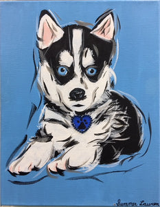 Siberian Husky Puppy Original Painting