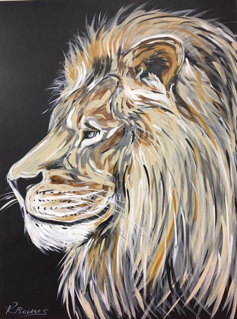 Watching Over The Pride, Lion painting wall art