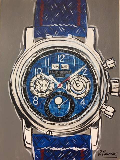 Patek Philipe Mens Watch, Blue Face Original Painting