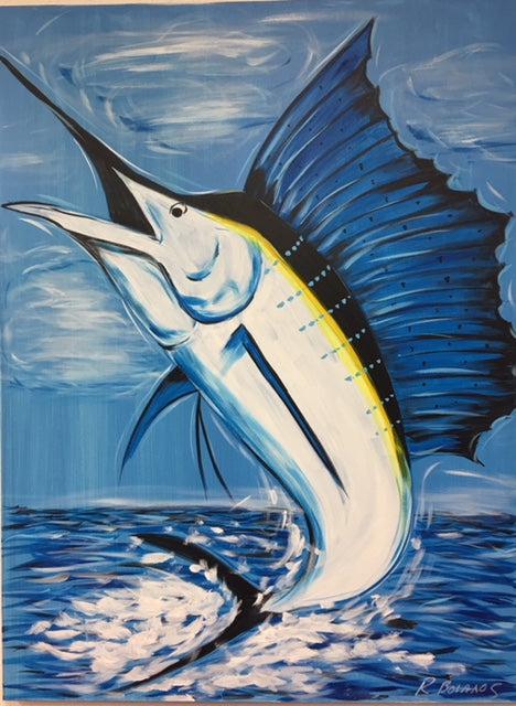 Sailfish Jumping Original Painting