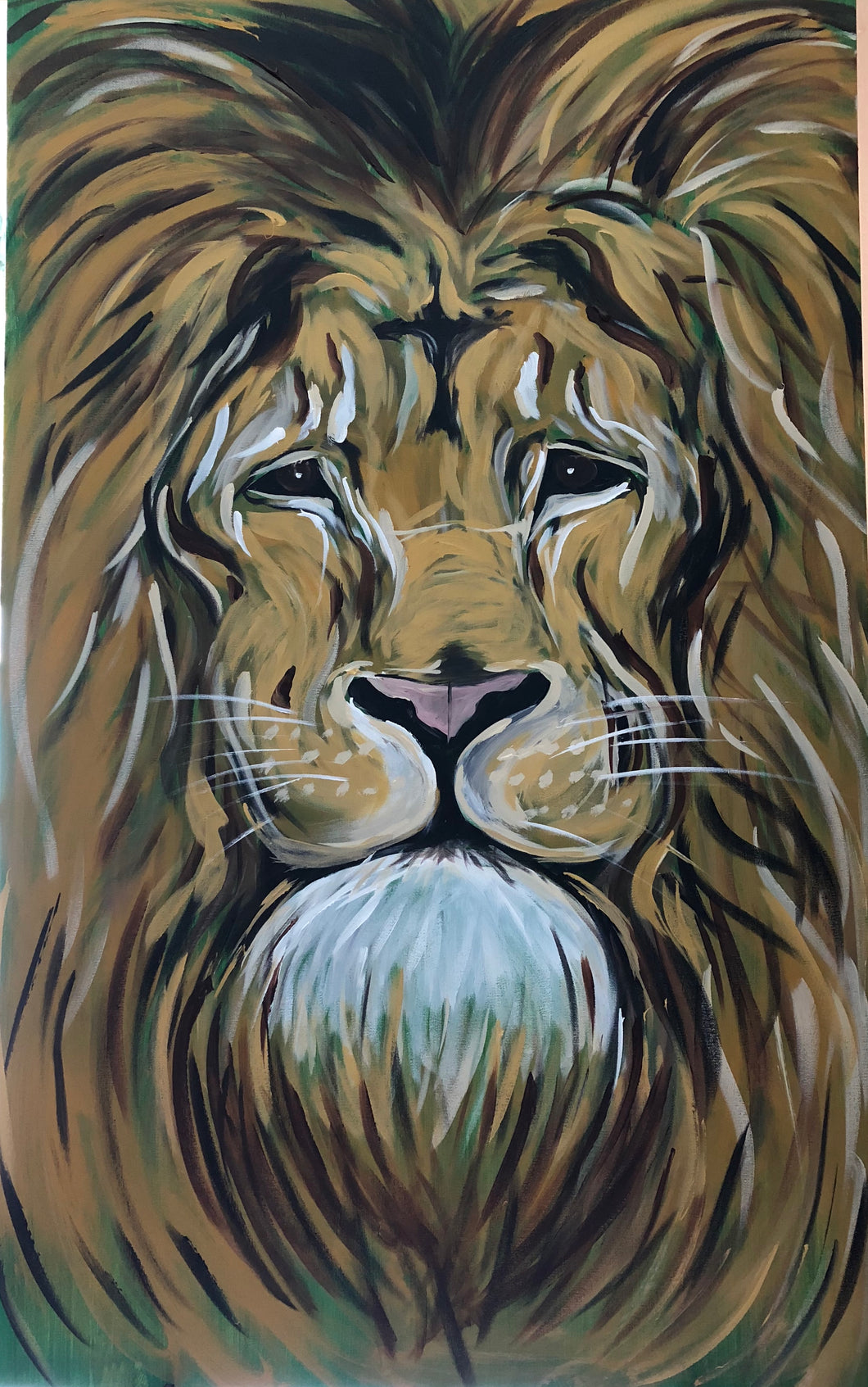 Lion Watching Original Painting