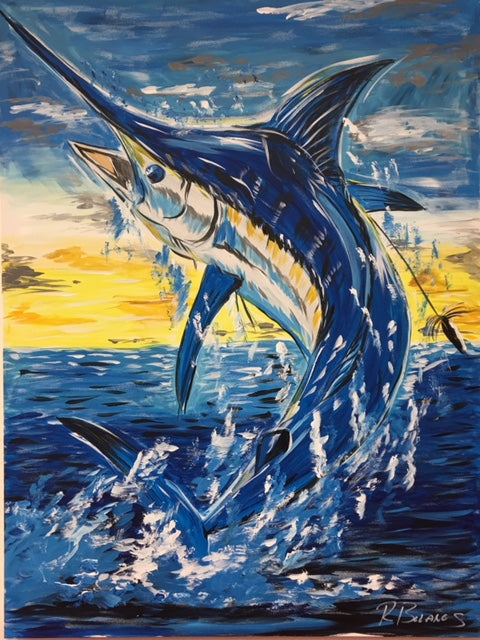 Swordfish Fighting Original Painting