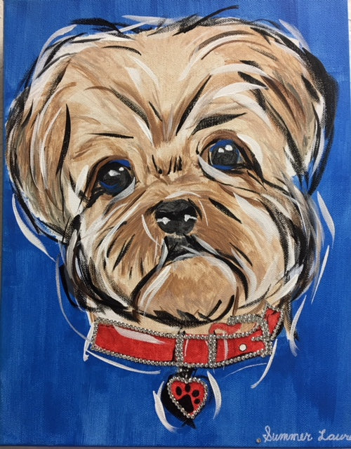 Yorkie Puppy painting, wall art