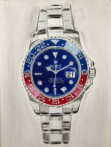 Red and Blue Rolex Submariner Original Painting