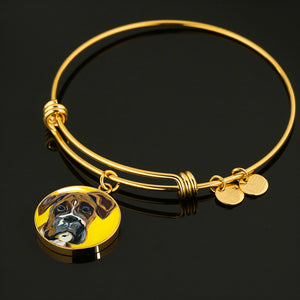 Boxer circle pendant bangle bracelet