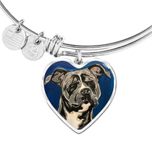 Load image into Gallery viewer, Rottweiler heart pendant bangle bracelet