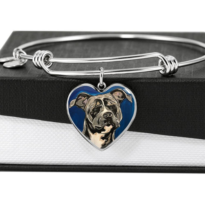 Rottweiler heart pendant bangle bracelet