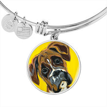 Load image into Gallery viewer, Boxer circle pendant bangle bracelet
