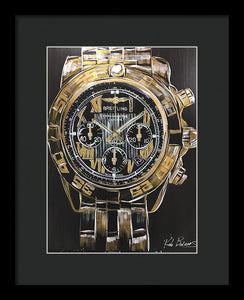 Breitling -chronometre Gold Watch - Framed Print