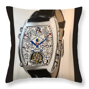 Fm Watch With Leather Band - Throw Pillow