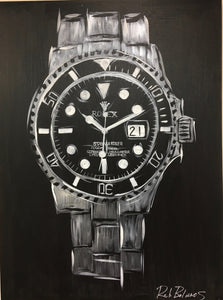 Rolex Submariner Black Face Original Painting