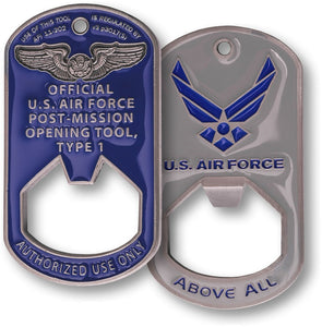 Air Force Dog Tag Bottle Opener