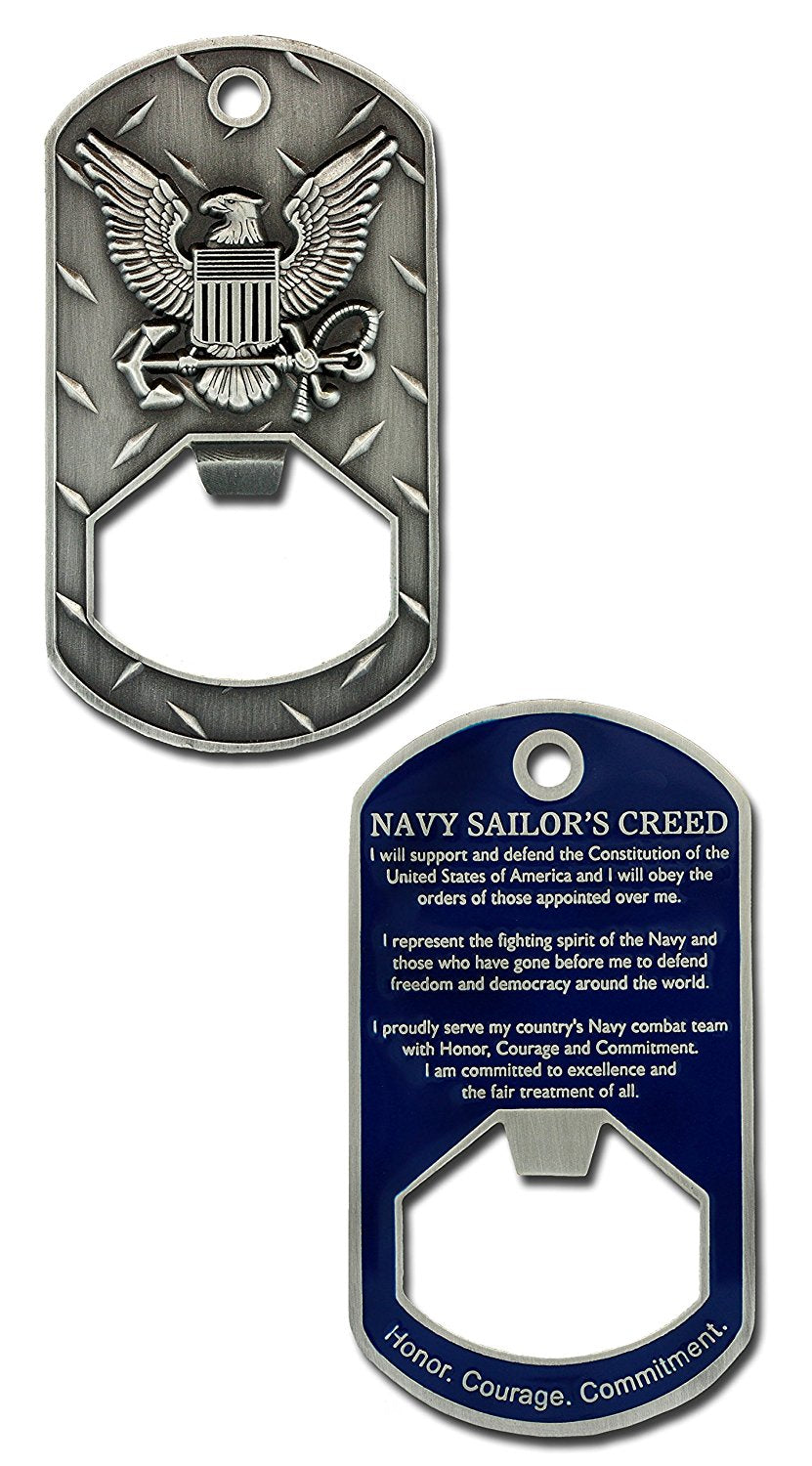 Navy Dog Tag Bottle Opener: Sailor's Creed
