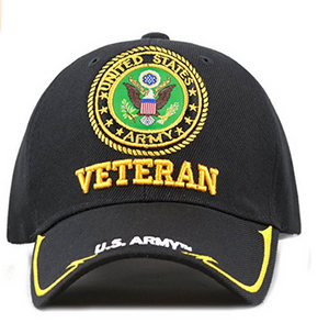 Army Hat: Veteran With 3D Embroidery (Black)