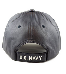 Navy Hat: Logo (Faux Leather Look)