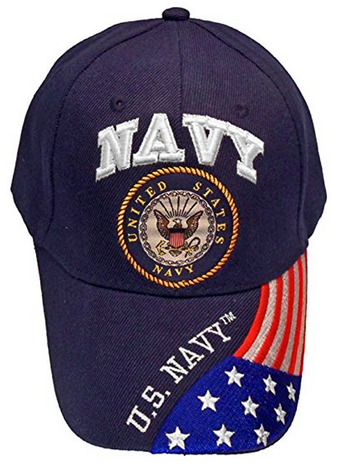 Navy Hat: Baseball Style With Flag On Front