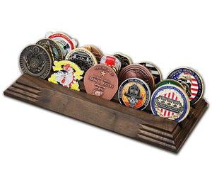 Challenge Coins 3-row display stand - SOLID WALNUT
