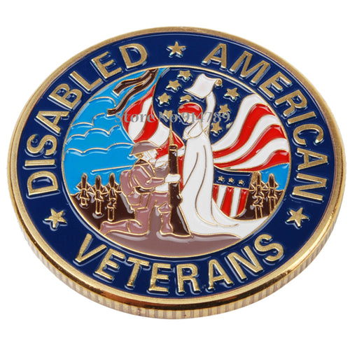 US AMERICAN DISABLED VETERANS PURPLE HEART CHALLENGE COIN - 36307