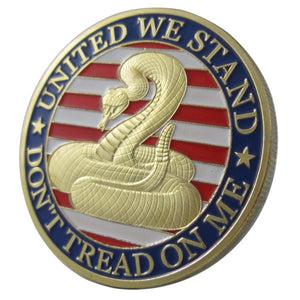 "United States Military United We Stand ""Don't tread on me"" Gold Plated Challenge Coin"