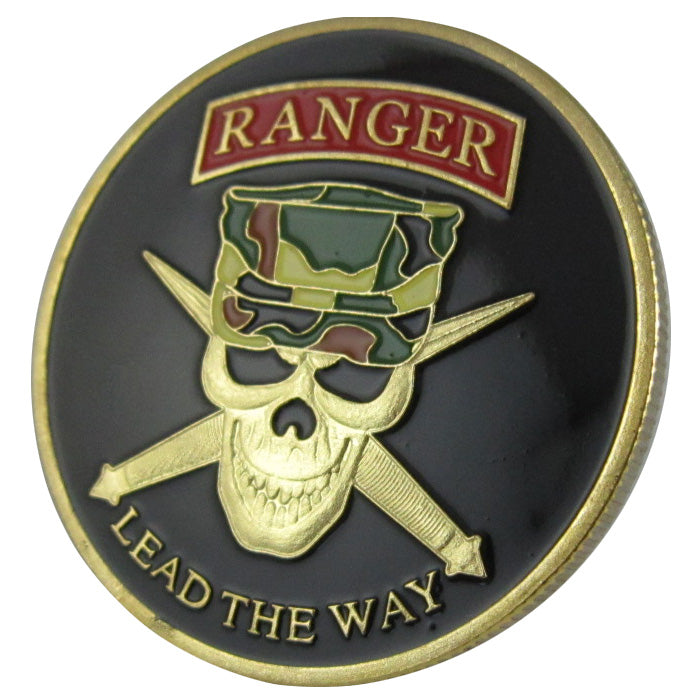 Army Coin: United States Army Ranger-LEAD THE WAY Gold Plated Challenge Coin