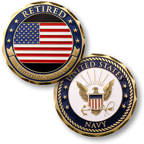 Navy Coin: U.S. Navy / Retired / Flag - USN Brass Challenge Coin
