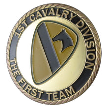"Army Coin: U.S. ARMY 1st Cavalry Division ""the first team""  24K Gold Plated Challenge coin"