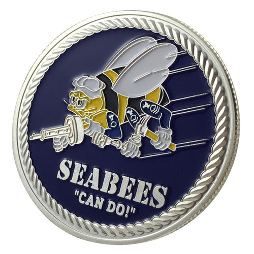 Navy Coin: US. Navy Seabees Gold Challenge Coin