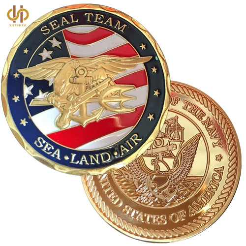 Navy Coins: 24k Gold Plated Souvenir Coin  SEAL Team Coin