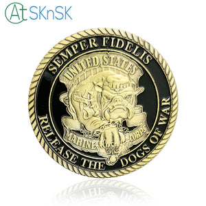 "Marines Coin: U.S.Marine Corps ""Release The Dogs Of War"" Military Challenge Coin"