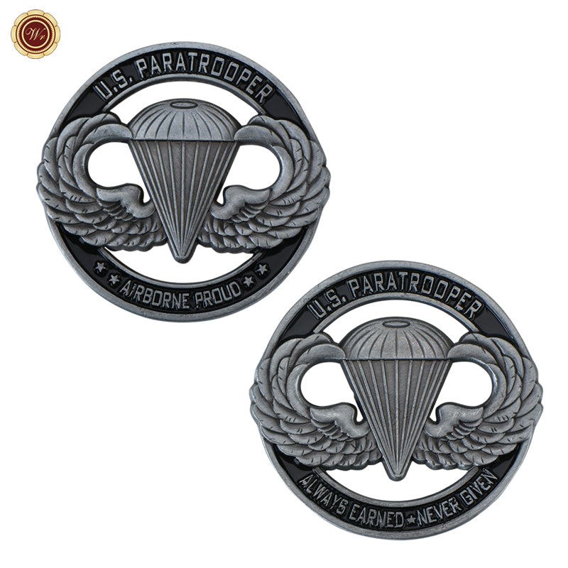 Army coin: WR USA Army Commemorative Coin US Paratrooper Challenge Coin