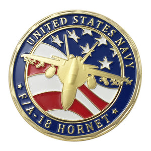 Navy Coin: United States Navy /USN F/A-18 Hornet Gold Plated Challenge Coin