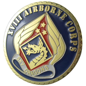United States Army XVIII AIRBORNE CORPS 24K Gold Plated Challenge COIN