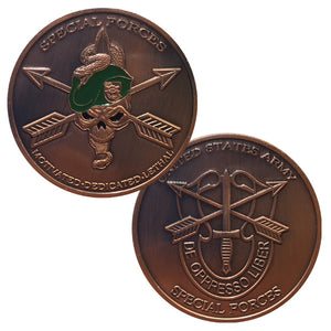 Army Coins: United States Army Special Forces Copper Plated Challenge Coin
