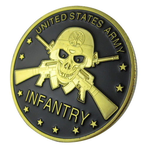 Army Coin: United States Army Infantry Gold Plated Challenge Coin