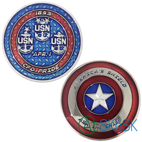 Navy Coin: Captain America Shield Navy CPO Ask the Chief Petty Officer Challenge Coin