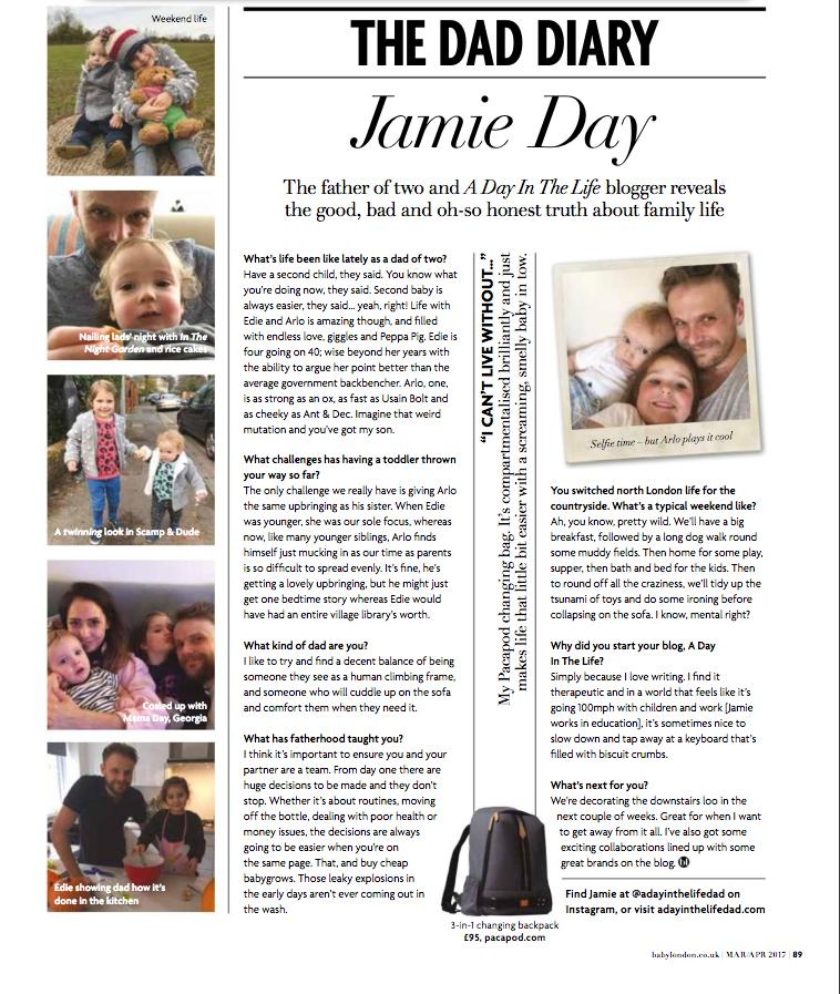 JAMIE DAY'S DAD DIARY - BABY LONDON