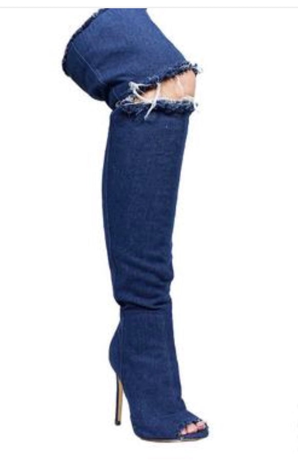 Shoes- Blue Denim open knee walker Boot