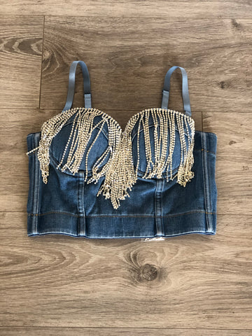 Denim Bling Bustier
