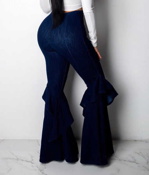 Denim high waist bell bottoms