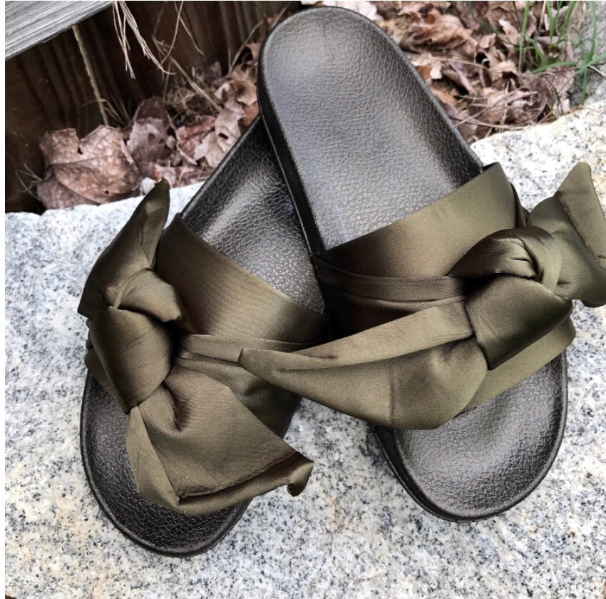 Shoes- Satin Bow Slides Olive