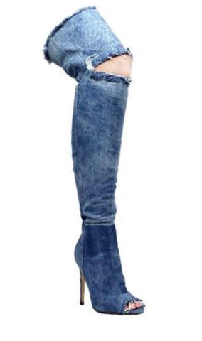 Shoes- Blue Acid Washed Open knee Walker Boots