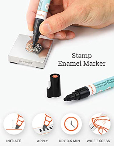 Image of ImpressArt Metal Stamp Enamel Marker, Black Acrylic Ink